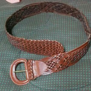 Express Wide Woven Leather Belt